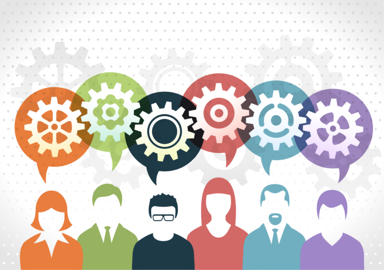 Vector image of people talking - gear bubbles